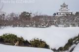 雪染まる城下