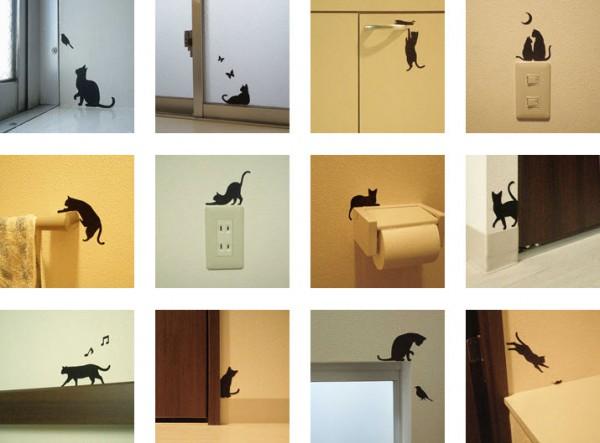 130618catsticker 600x443 - 猫のウォールステッカーで、家のそこかしこに、猫がチラリ