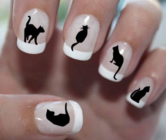 130627catnail - ツンデレ黒猫のネイルステッカー