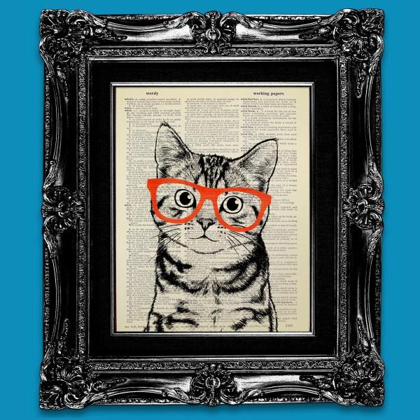 131124catpop01 600x600 - 辞書に描かれた猫ポップアート