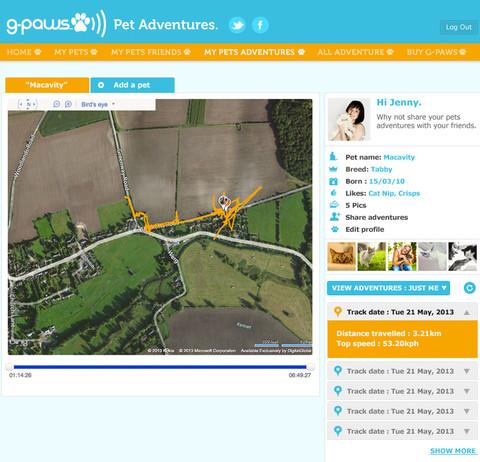 131201gpaws02 - 猫行動記録ガジェット「G-PawS」。オンライン地図上でのGPS移動ログ表示も可能