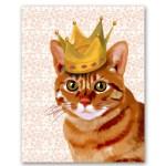 戴冠した猫の王様を描いた、かわいい猫ポスター