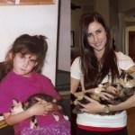 生後6週目だった子猫と5歳の女の子、共に成長して18歳と23歳に