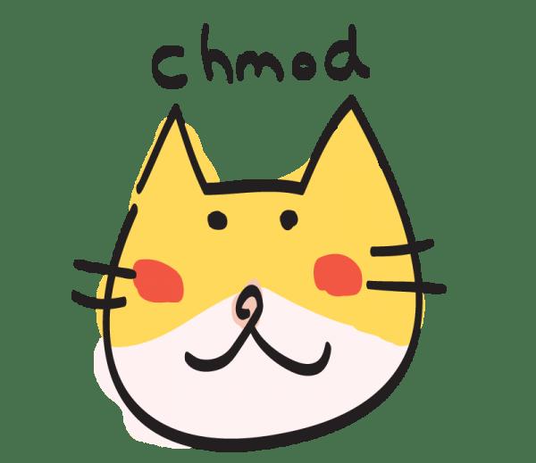 140915cui chmod 600x519 - UNIXコマンドを擬猫化した「CUI」、LINEスタンプにて登場