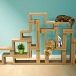 段ボール製テトリスブロック、組合せ次第で家具にも猫の遊び場にも