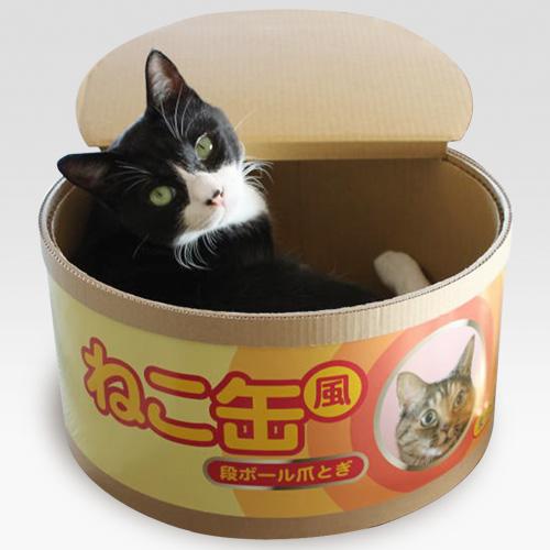 151015nekokan01 - 爪とぎ付きの猫の缶詰、開ければ猫が顔を出す
