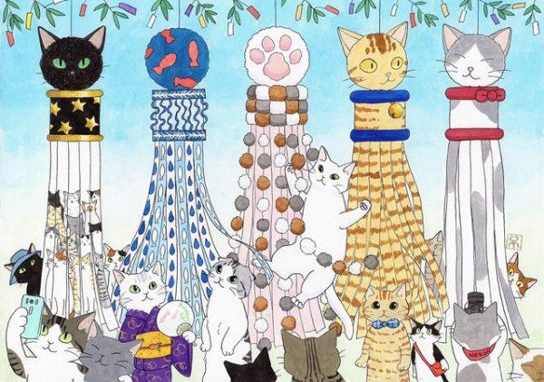 160706tanabata01 600x421 - 東北の空を彩る猫型飾り、仙台七夕まつりに猫要素が追加される