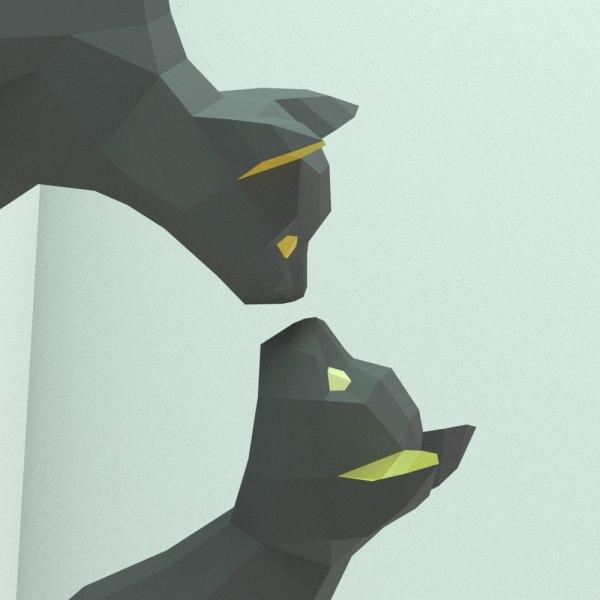 170502catPapercraft02 600x600 - リアルな猫のペーパークラフト、壁から飛び出て鼻を合わせて