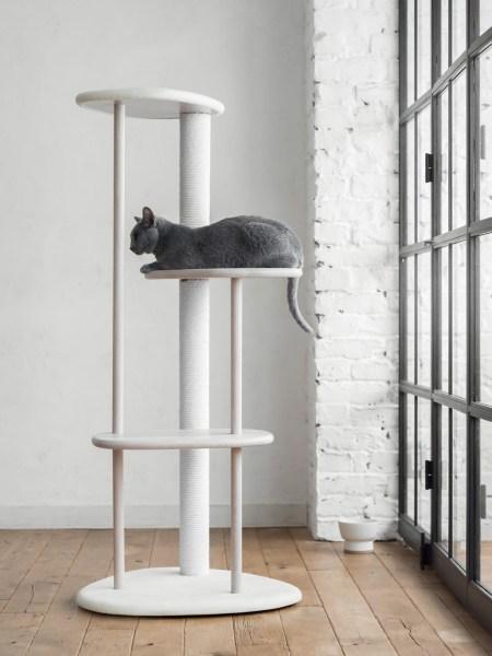 190329cat02 2000 450x600 - 雅致溢るるカリモク謹製キャットタワー、猫の姿も映え映えしく