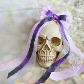 Hair bow - Purple galaxy printed