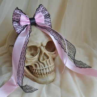 Hair bow - pastel pink and black
