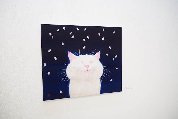 桜と白猫の日本画