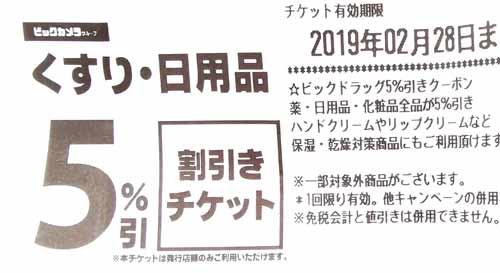 ビックカメラのくすり・日用品5%割引チケット
