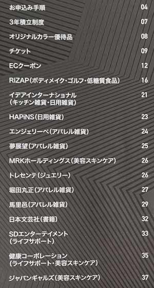 2019年RIZAP株主優待カタログの内容