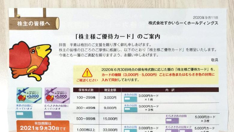 すかいらーくホールディングス(3197)の株主優待が到着【2020年】