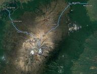 Unsere Route. Auf fast genau 200m Höhe geht es am Rongai-Gate los