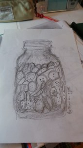 Drawing of the Jar of buttons