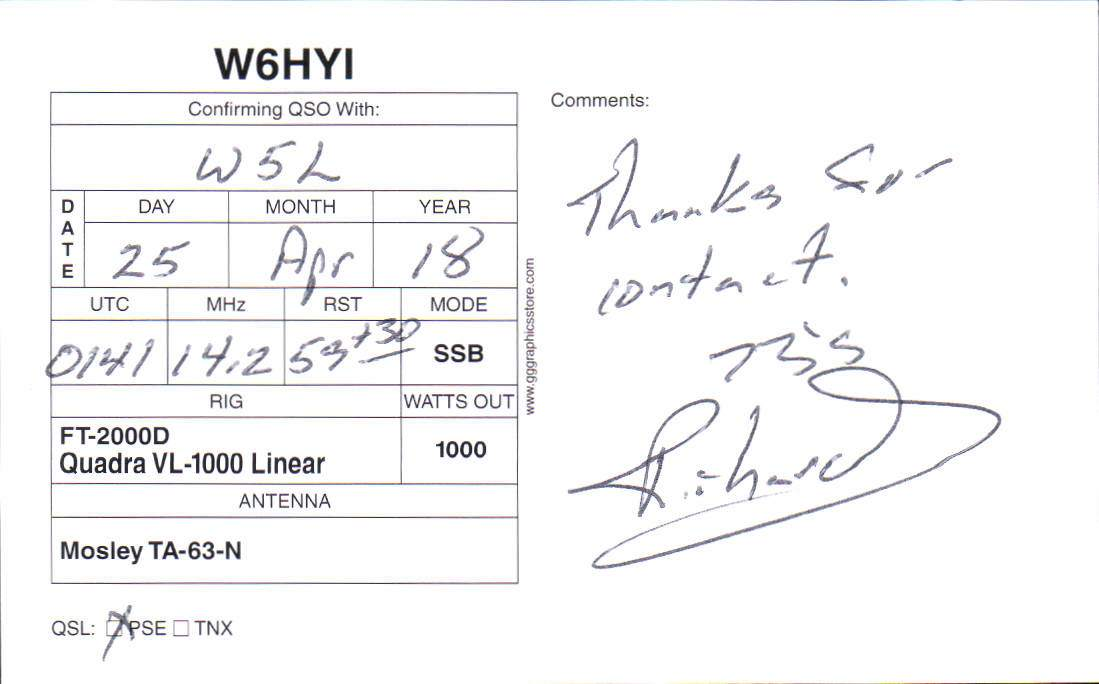 W5L Special Event Received QSL Cards