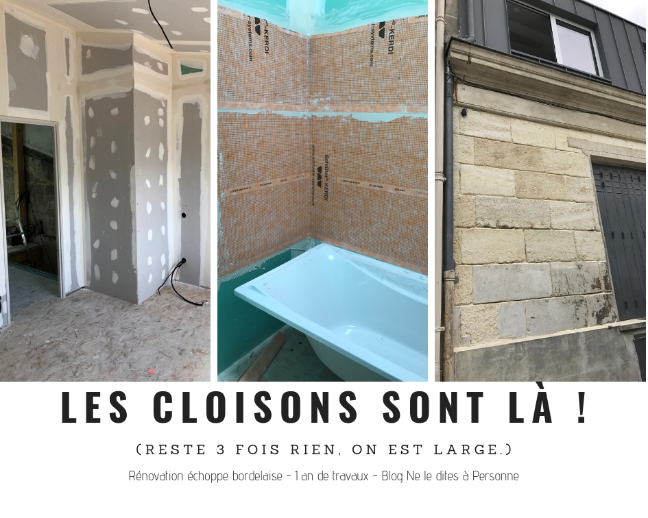 Cloisons et sdb - Renovation surelevation maison echoppe bordeaux - 1 an de travaux - Blog Bordeaux Ne le dites a Personne #Rénovation #rénovationmaison #echoppe #echoppebordeaux #echoppe bordelaise #rénovationechoppe #surelevationechoppe #bordeaux #blogbordeaux #neleditesapersonne