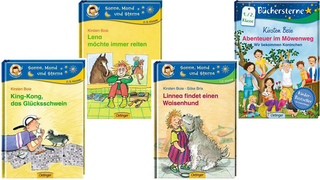 Buchcover von vier verschiedenen Kinderbücher von Kirsten Boie.