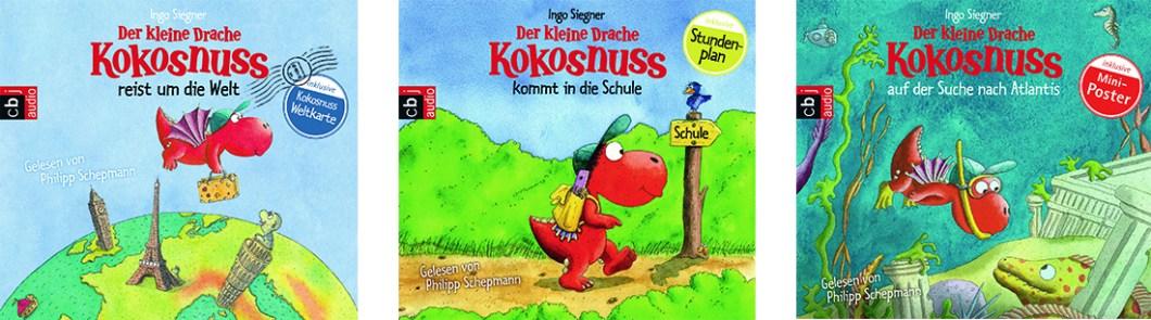 Cover von drei Hörbüchern vom Kleinen Drachen Kokosnuss von Ingo Siegner