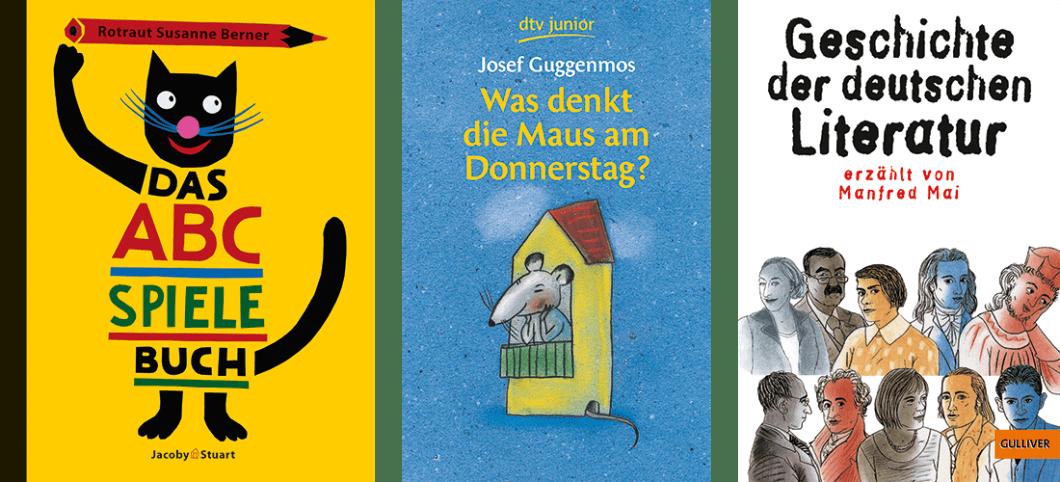 """Coverbilder der Bücher """"Das ABC-Spielebuch"""", """"Was denkt die Maus am Donnerstag"""" und """"Geschichte der deutschen Literatur"""" mit Illustrationen von Susanne Rotraut Berner."""