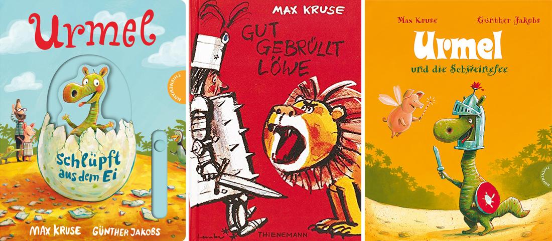 """Coverbilder der Bücher """"Urmel schlüpft aus dem Ei"""", """"Gut gebrüllt Löwe"""" und """"Urmel und die Schweinefee"""" von Max Kruse"""