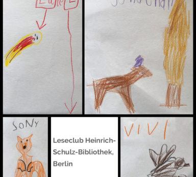 Bilder der Kinder vom Leseclub, gemalt zu Texten vom Frühlingsbuch