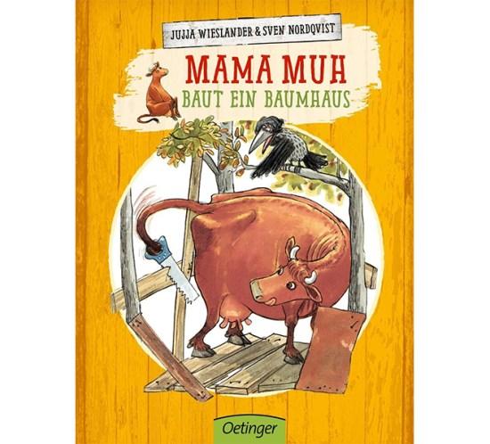 """Cover vom Bilderbuch """"Mama Muh baut ein Baumhaus"""" von Jujja Wieslander"""