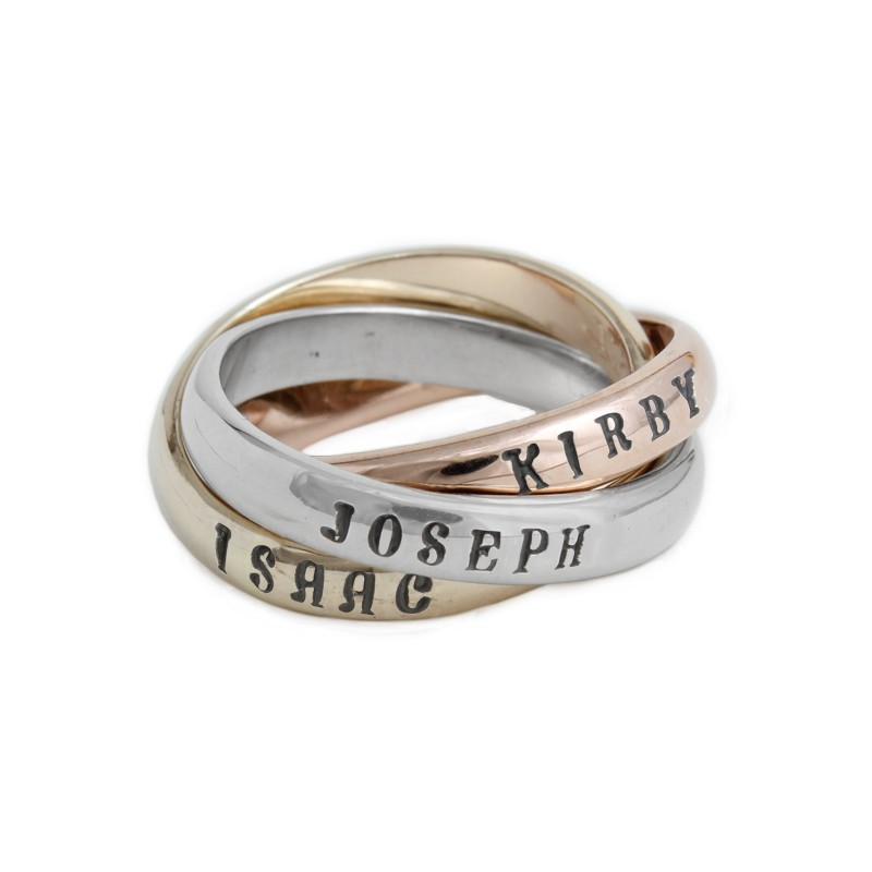 Personalized Name Ring 14kt Gold, White Gold And Rose Gold