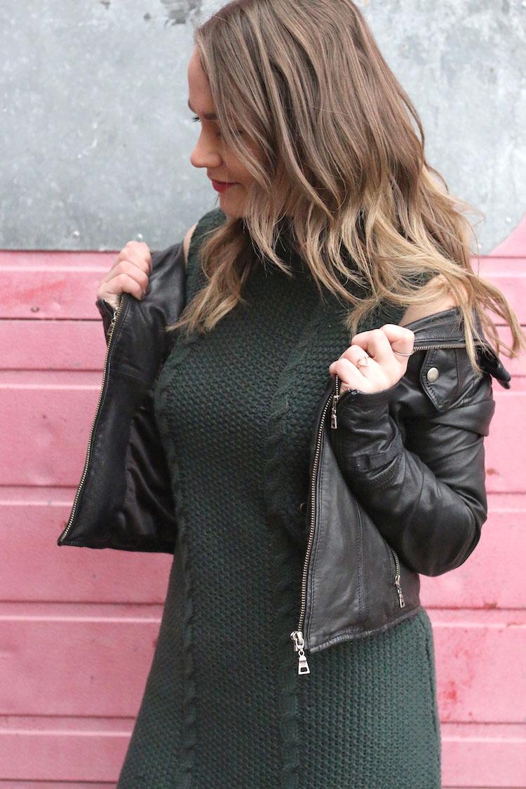 Green Fringe Dress, pink wall, taking blog photos
