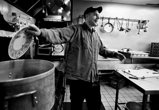 "Danny Miller, son of the director of God's Love, Ann Miller, has been a cook at the shelter since 1994. The year before that he went to the University of Montana, but left after a semester, because he got in the wrong company. He's not always proud of his culinary concoctions. ""Sometimes I have things to cook that I don't know what they are,"" he says. Other times, he just throws some beans and ham in the pot and stirs."