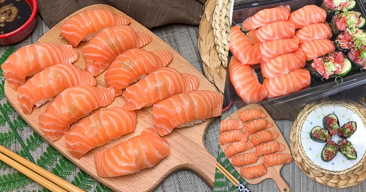 銅板20元鮭魚壽司,現切製作新鮮握壽司、壽司捲、生魚片 X 上漁屋壽司連鎖專賣店-自強夜市總店