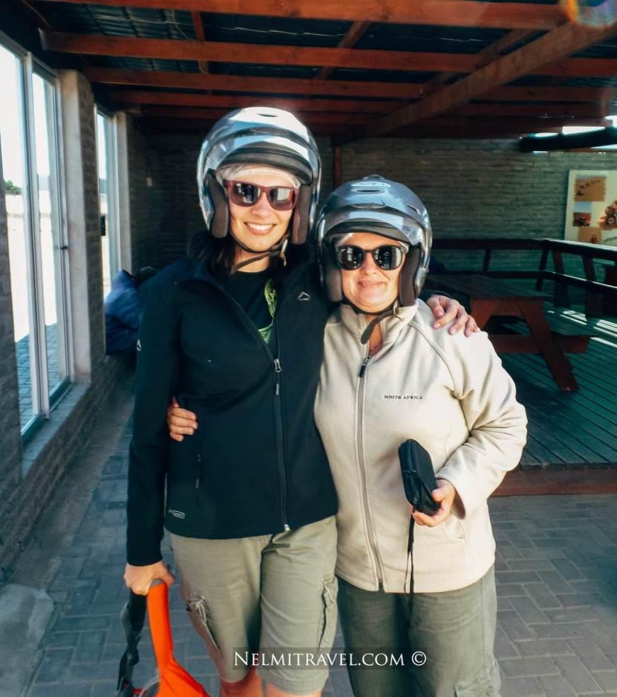 Monica and I preparing for the quad bike ride.