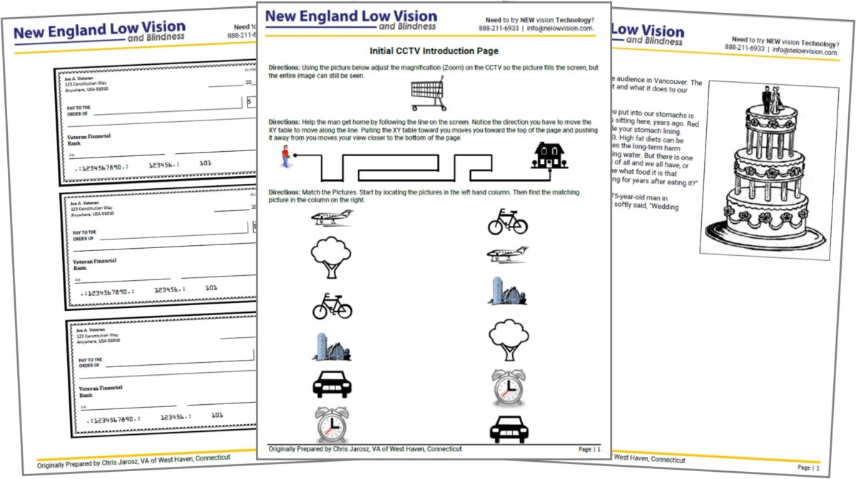 Video Magnifier Training Worksheets for People who are