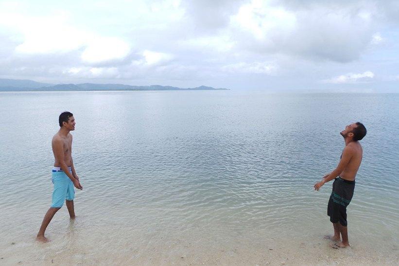Stone skipping in Maniwaya Island