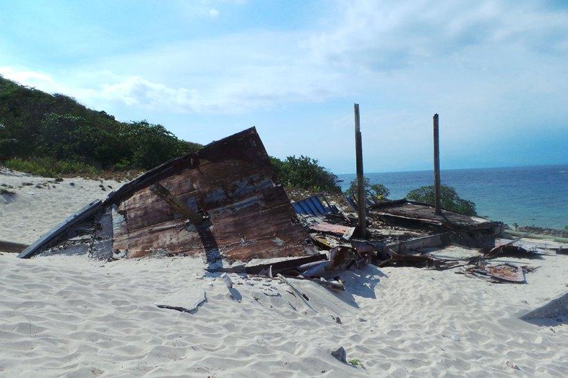 Wreckage of a ship restaurant