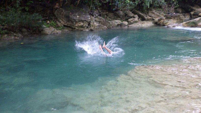 Swimming in Bao-Bao Falls