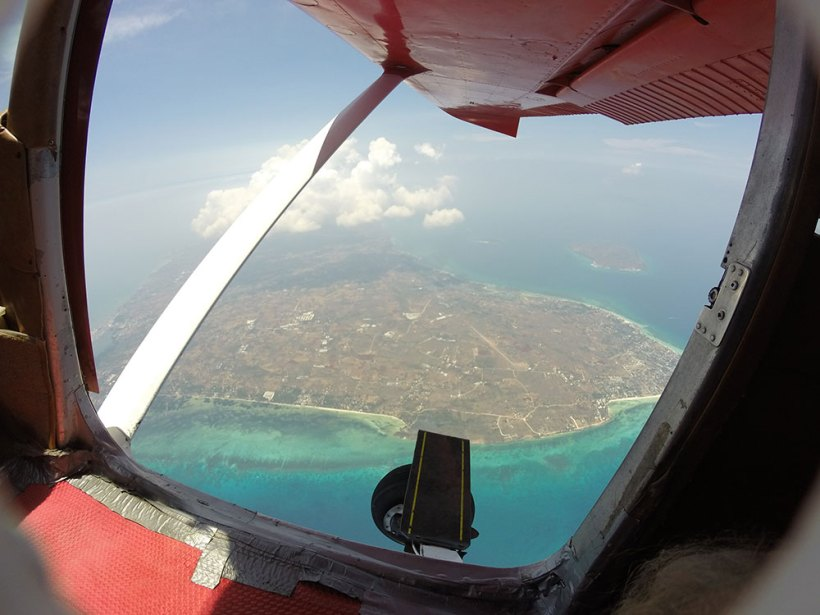 Aerial view of Bantayan Island from the skydiving plane