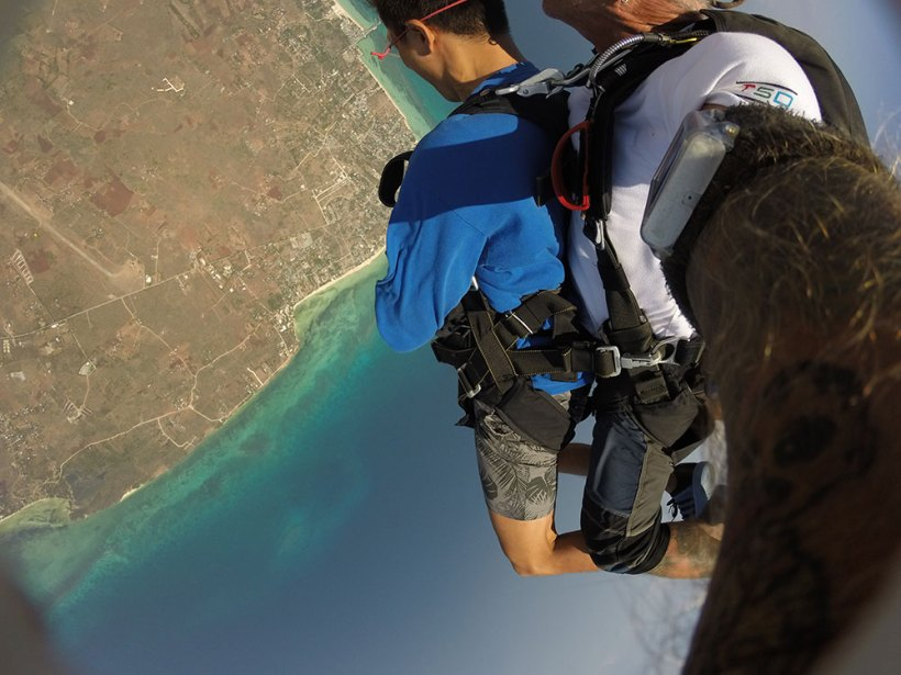 Jumping off the plane on top of Bantayan Island!