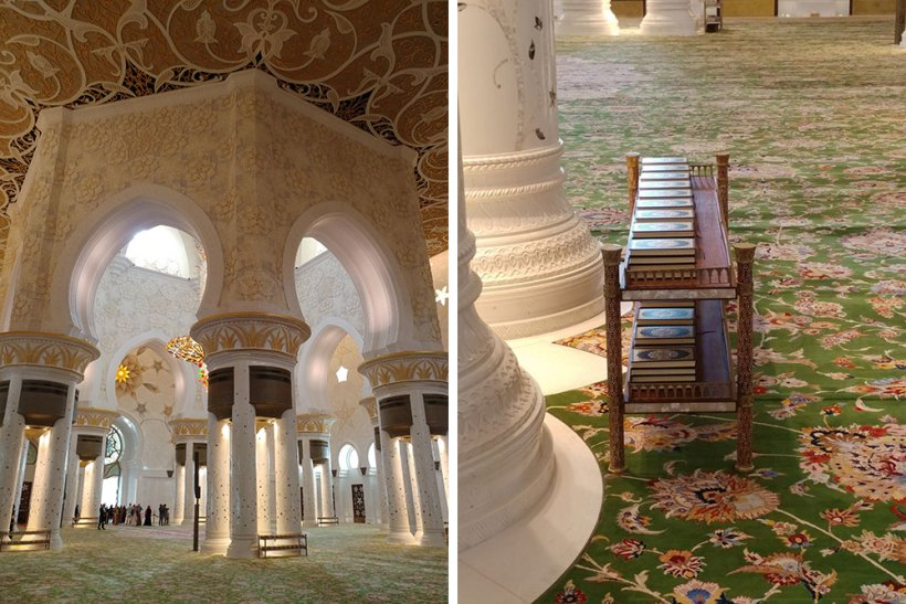 Columns and books in the prayer hall
