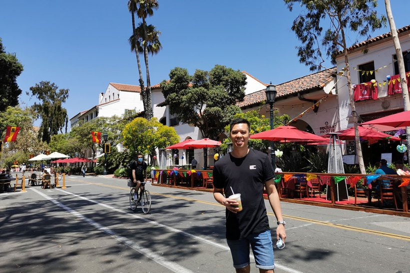 Having coffee in Santa Barbara