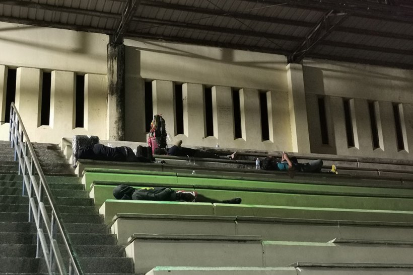 Overnight at Butuan Sports Complex's grandstand