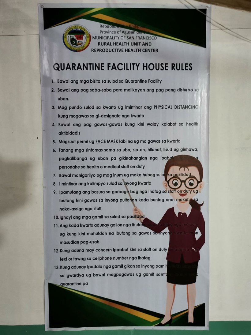 Quarantine facility house rules