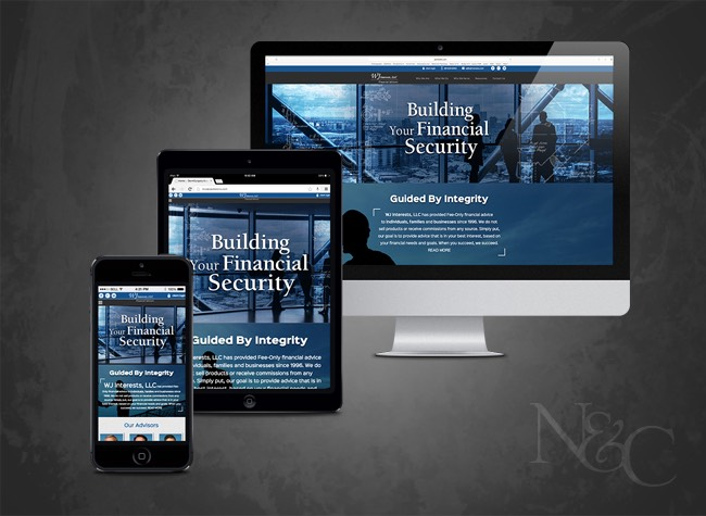 Custom website design project for WJ Interests Wealth Advisors, a Sugar Land based wealth managment firm whose web site was built by Nelson & Co.