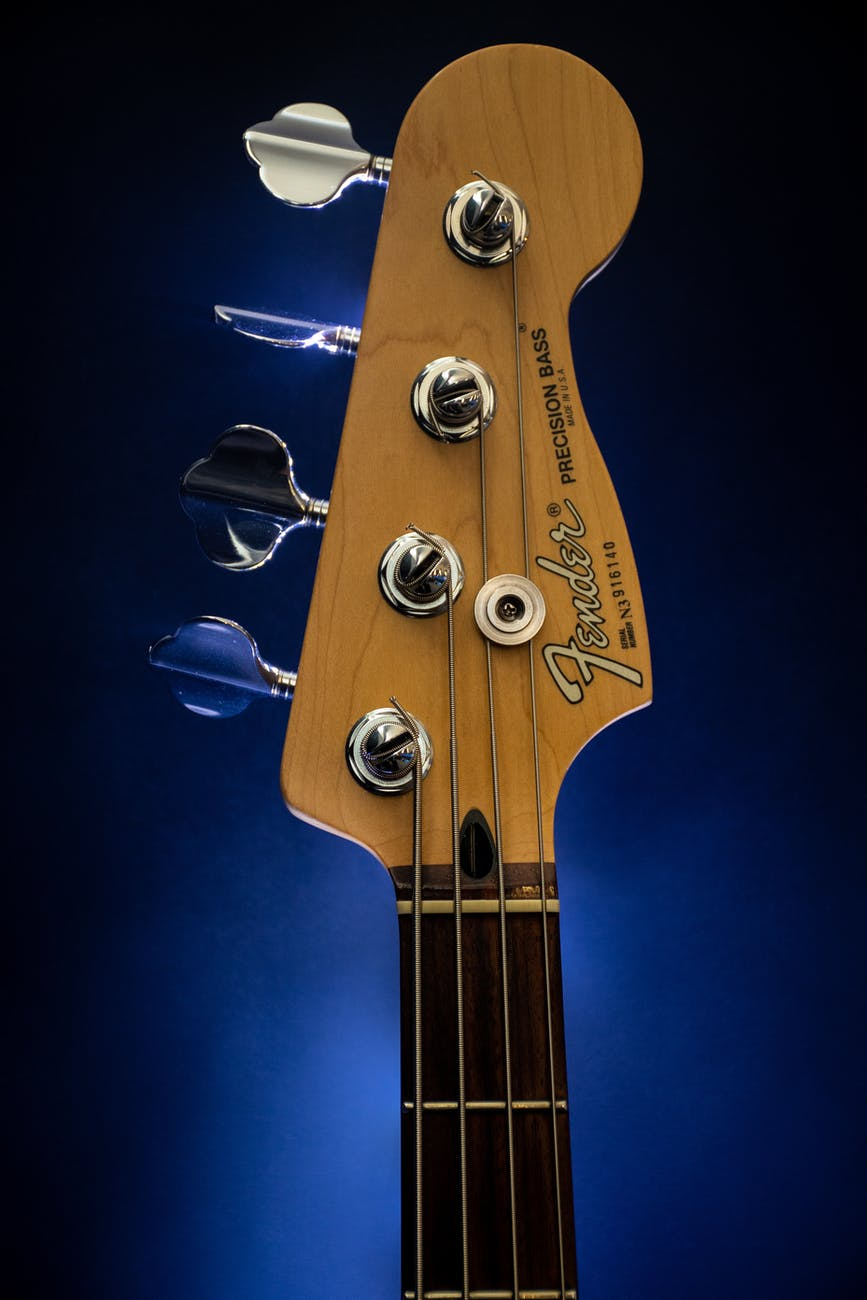 close up photography of brown fender guitar headstock
