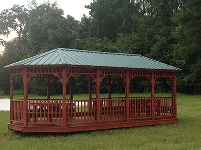 Gazebo Gainesville, FL Large With Green Metal Roof