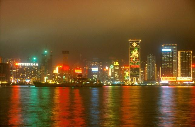 Hong Kong, ventro de negocios, nocturno