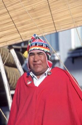 Bolivia, Lago Titikaka, Huatajata, Balsas de Totora, retrato