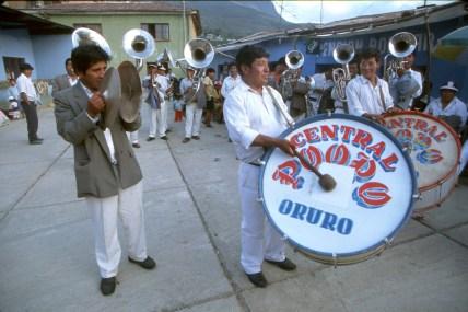 Bolivia, los Yungas, fiesta de Coroico, Cultura Popular, Banda musical, retrato